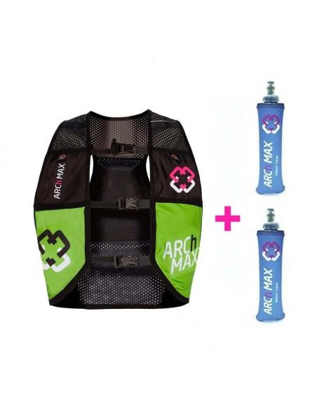 Chaleco hidratación ARCh MAX HV-4.5 + 2 Softflask 500ml HV45SF03-04 GREEN